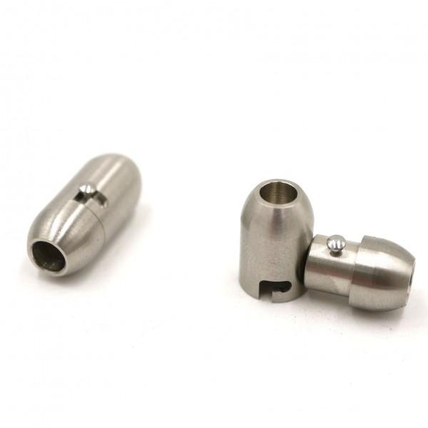 ovaler Magnet Verschluss Edelstahl m. Zusatzsicherung i 4mm (K/9-A3)