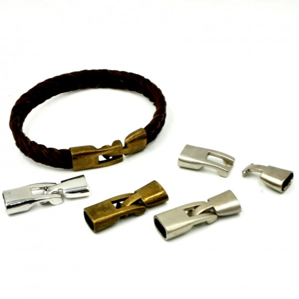 Knebelverschluss für Bänder 10 x 3-4mm, Messing, Antik Look (K/9.C6-7-8)