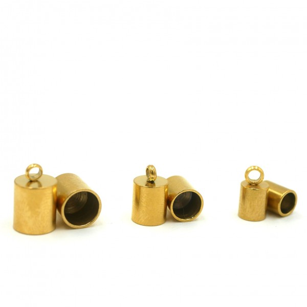 2 Stück Endkappe, golden, 4, 5 oder 6mm innen, Edelstahl (K/6-C1-2)