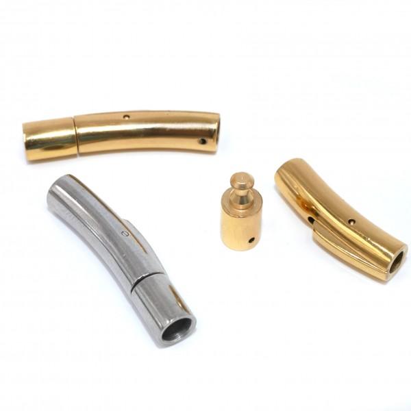 4mm innen Schnappverschluß in Natur, Golden, Edelstahl mit Gravuroption (K/33-c7-8)
