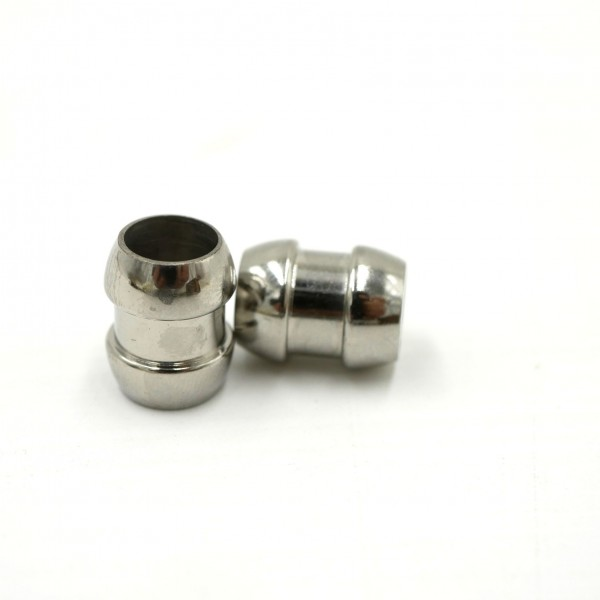 Edelstahl Perle Olivenform, Großloch i:7mm, mit breiter Nut (K/7-A5)