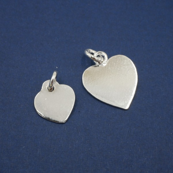 925 Silber Herz Gravurplatte, 15x12 mm, 11x9mm, mit Öse, natur, Gravurfähig,(S10/3)