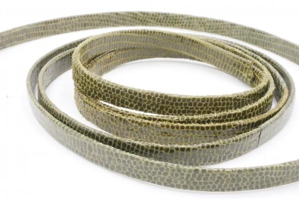 lederband 5 x 1,5mm leder, doppelseitig , Schlangenoptik grün