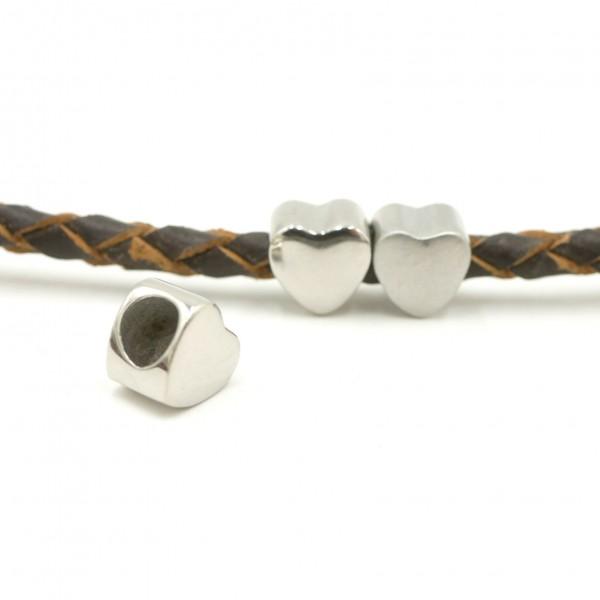 8 mm Herz Perle, innen: 4,7mm Edelstahl, Überschieber (K/1-C8)