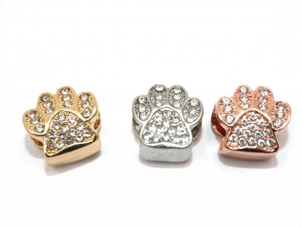 Pfote glitzernd, mit vielen Zirkonia - Großlochperle, Modulperle aus Edelstahl golden/Rosé, S1/A
