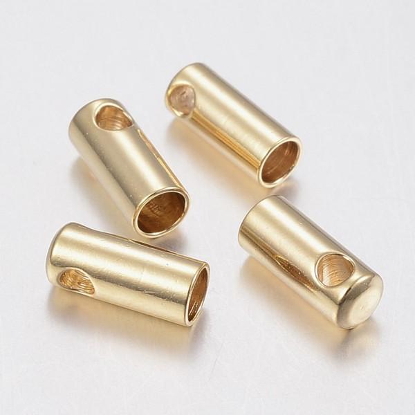 2 Stück Endkappe,golden innen 1 mm Edelstahl (S1/C)