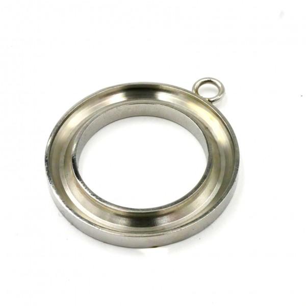 27mm Edelstahl-Anhänger Ring ohne Brücke, Anhänger für Pferdehaar, Holz