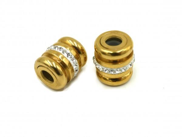Großlochperle Golden mit Strass in Polymere PF-P-5069