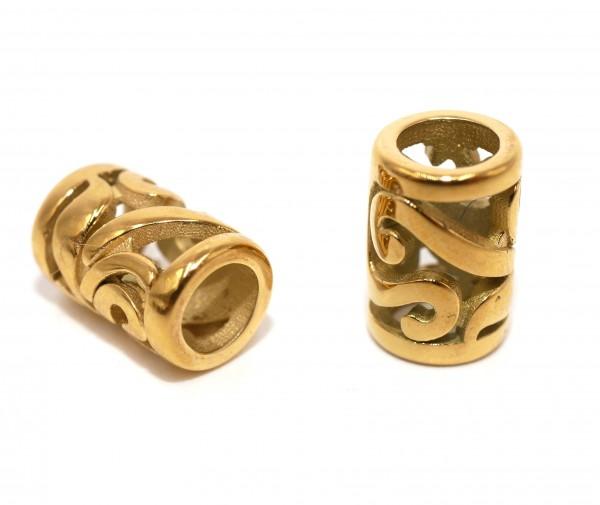 Ornament Hülse Edelstahl, Golden, Innen: 4,6mm, durchbrochen, Antik Look (K3/B8)
