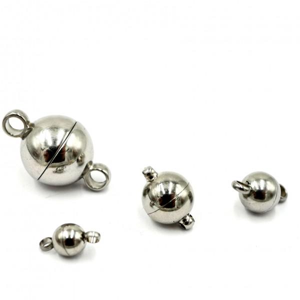 Kugel Magnet Verschluss, Edelstahl, 4 Größen (K/9-B5+6)