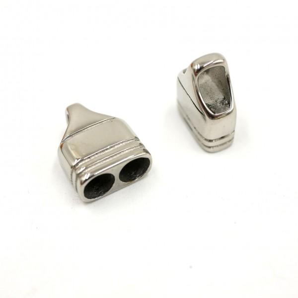 Endkappe mit 2 einzelnen Einschublöcher, 4mm, Edelstahl mit Gravuroption (K5/B6 )