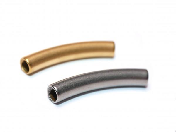 gebogenes Titan Rohr, Natur oder golden 30x5mm, innen: 4 mm, (K3/C3+4)