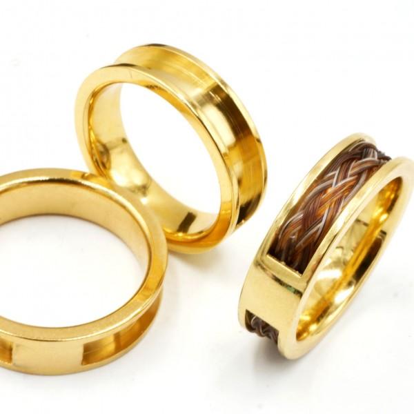 Edelstahl Ring golden 6mm mit 4mm Nut und Brücke. Für Pferdehaar Schmuck