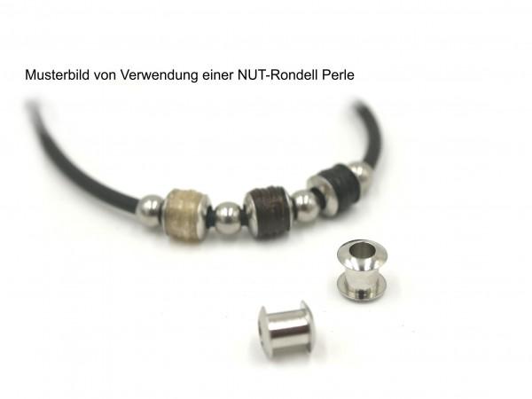 Nut - Rondell, Großlochperle, Modulperle für Einlage, Edelstahl 8x7mm innen 3,4-4mm, Pf-H-4058 diy-pferdehaarschmuck.de