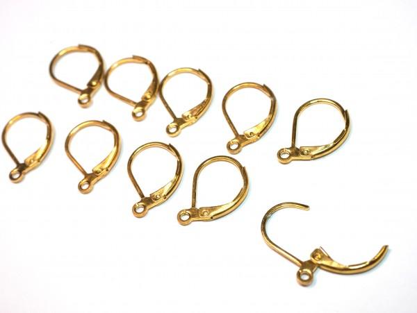 10 Stk Edelstahl Ohrhaken, golden, Klapp Brisuren Ohrhänger, Ohr-Verschluss Klappbügel 16mm