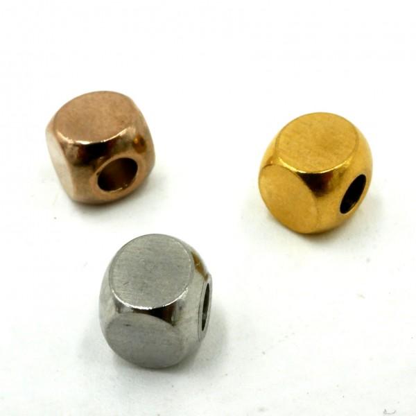 Würfel, Kubus, Perle,6x6mm i:2.8mm Edelstahl, Großlochperle, (S1/A)