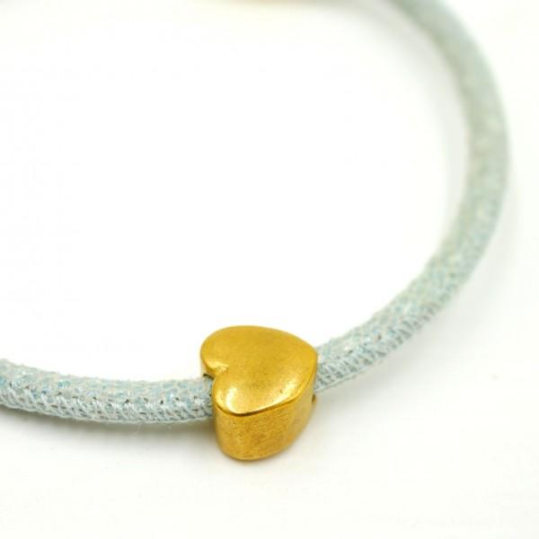 Herz, Antik Look, Gold, Großlochperle, Edelstahl Modulperle, 5mm (K1/C8)