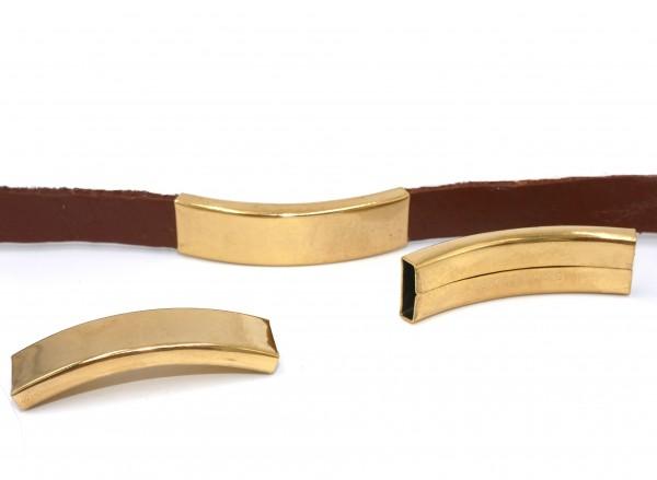 Hülse Überschieber 10x2mm Durchschub Edelstahl golden ,Pf-H-4086, von Diy Pferdehaarschmuck.de