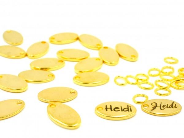 Gravurplatte -Logo Tag , Edelstahl Golden , 12,5x7mm G-1208