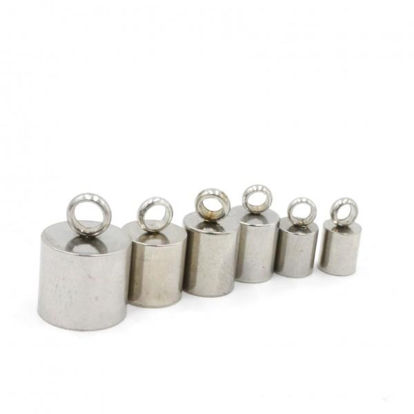 6 Endkappen, Edelstahl , 6 verschiedene Größen 8-4mm (K6/A1-2-3-4-5-6-)