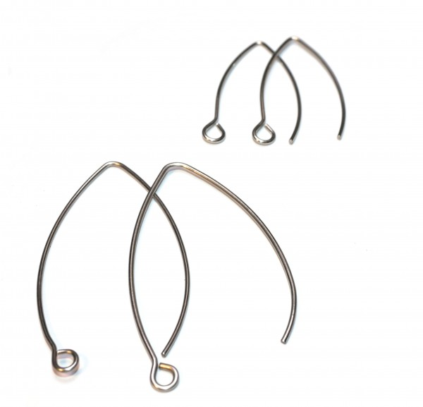 Paar geschwungene Edelstahl Ohrhaken, 2 Längen zur Auswahl (K12/A4-5)