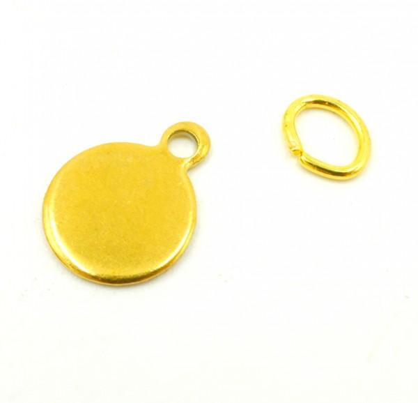 8mm Gravurplatte,Tag, Edelstahl golden, Anhänger mit Gravuroption (S1/E)