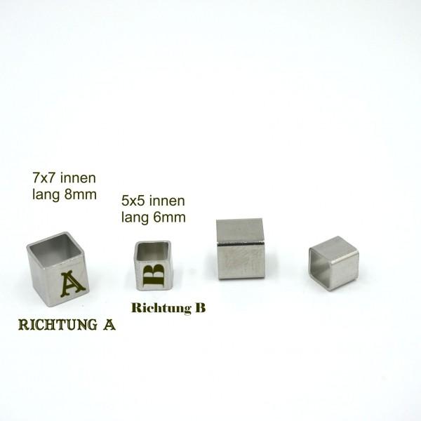 Eckige Edelstahlhülse 8mm oder 6mm mit Gravuroption von diy-Pferdehaarschmuck.de