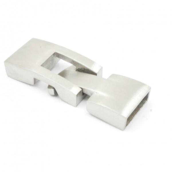 Knebelverschluss gebürsted, Edelstahl, für Bänder 10 x 3mm (K/9.C4)