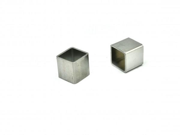 kurze eckige Edelstahlhülse quadratisch 8x8mm, innen: 7x7mm, gravurfähig