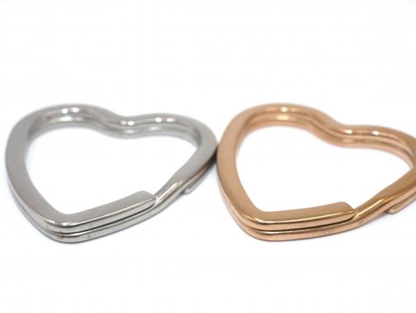 Herzform - Schlüsselring, 31mm , Edelstahl natur und Roségold , Splitring (K/8/A1-2)
