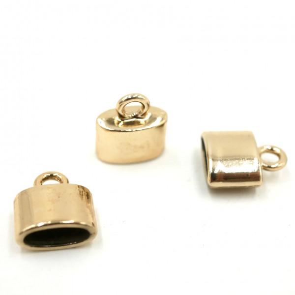 2 ovale Endkappen aus Edelstahl, echt rosegold vergoldet (S1/C)