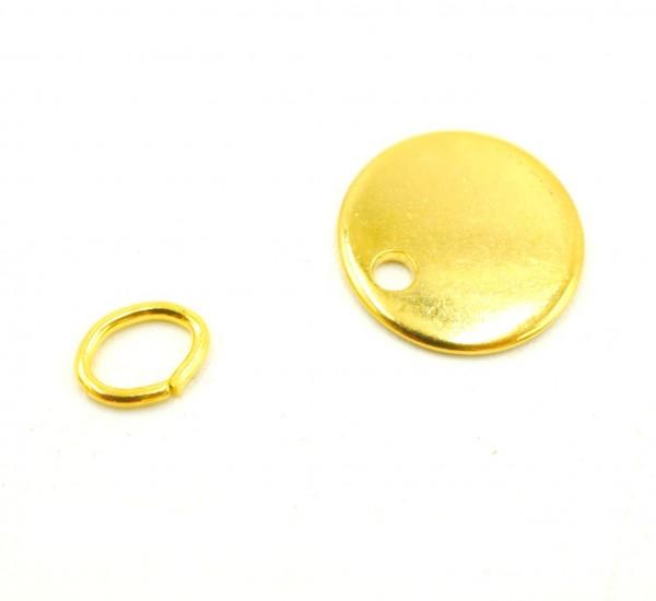 10mm Gravurplatte,Tag, Edelstahl golden, Anhänger mit Gravuroption (S1/E)