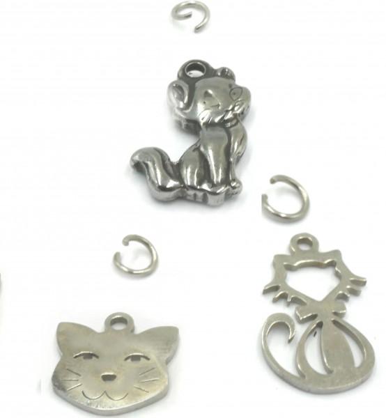 Katze, Kitten und Samtpfoten, Charm Anhänger Edelstahl (S2/A)