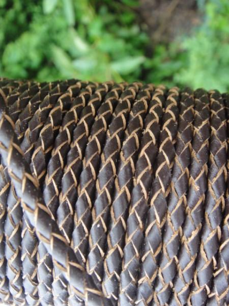 Leder geflochten 4 mm braun , Material, Lederband Material für Armband,Lederkordel
