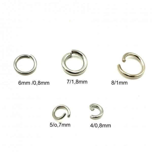 20 Ösen, Edelstahl Ringe, Binderinge für Schmuck, 4-8mm (K/5-D1)