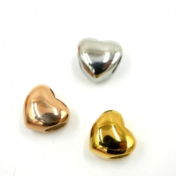 Herz Glanz, Großlochperle, Edelstahl Modulperle, natur-gold-rose, 5mm (K1/D8)