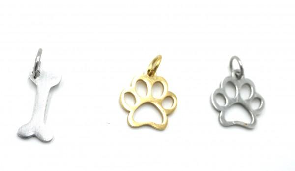 Hundepfote hundeknochen ,Edelstahl ,golden Anhänger , Zwischenteil, PF-IN-7020