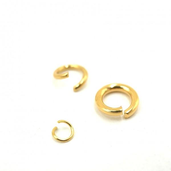 10x Öse, golden, Edelstahl Ring, 3 Variationen 6, 5, 3mm (S1/C)