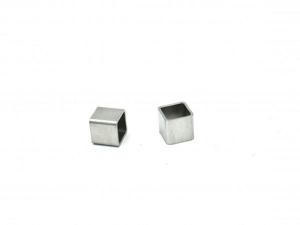 kurze eckige Edelstahlhülse quadratisch 6x6mm, innen: 5x5, gravurfähig