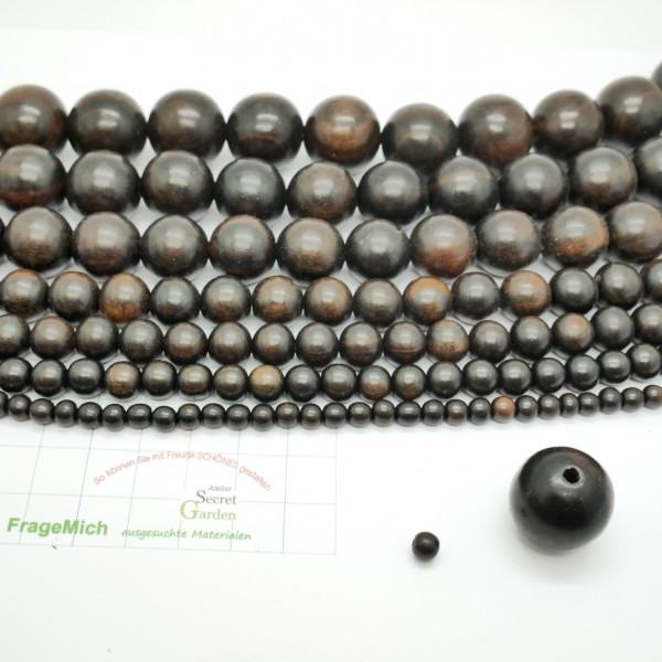 Ebenholz, Holzperlen, Holzkugeln 5,8, 10, 12, 16, 18, 20mm