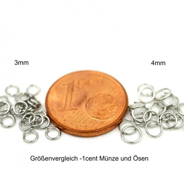 20 feine, dünne Ösen, offen, 3 und 4mm Edelstahl Ringe (K19/D2)