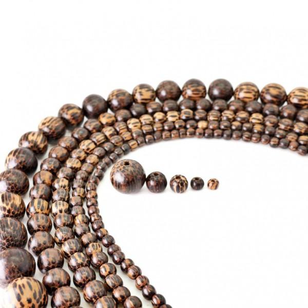 Palmenholz Perlen, dunkle Palme Holzperlen, Holzkugeln 5, 6, 8, 10,15mm