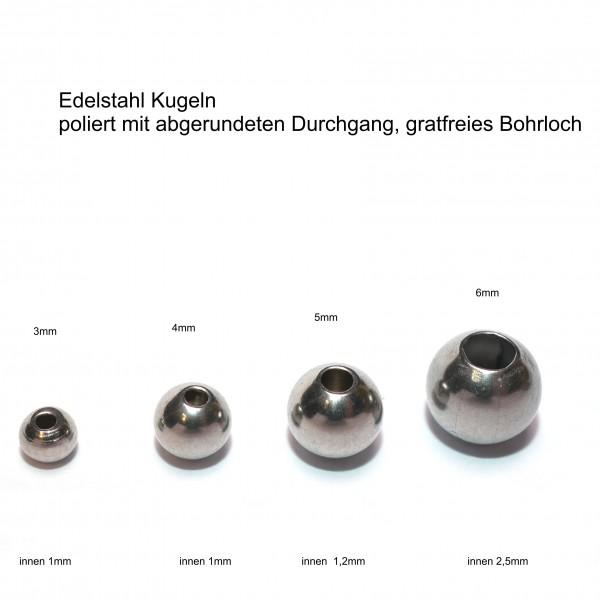 10 Stück Edelstahl Kugeln - Edelstahlperlen 3, 4, 5 und 6mm (K18/A1-4)