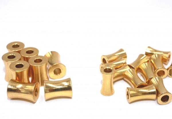 5 Metall Perlen echt vergoldet 2 Größen, Knochenform, Innen: 3mm (K18/D5)