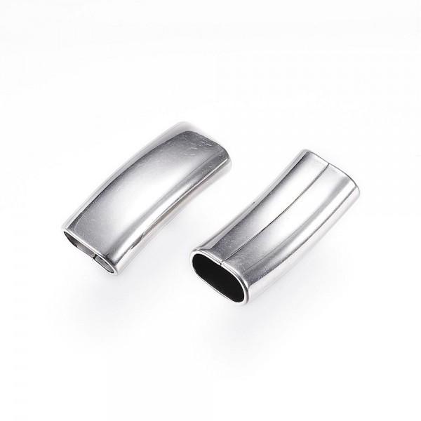 ballig, Überschieber 11x6mm gebogen, Edelstahl, für Pferdehaar und Lederarmbänder (k/2-B6)