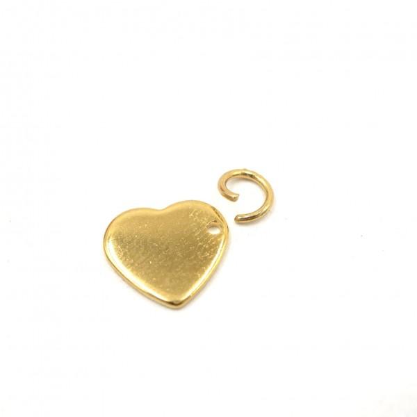 Herz Gravurplatte, Edelstahl Gold, Charm Anhänger, Gravuroption (S1/E)