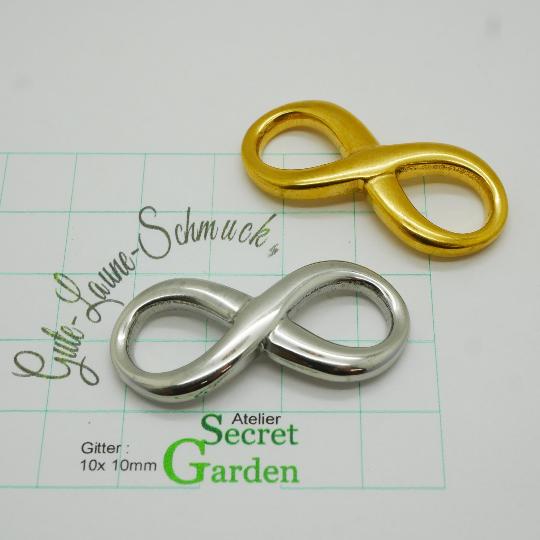 XXL Infinity Schleife 40x18, natur- oder goldfarben, Edelstahl (K/3-D3-4)